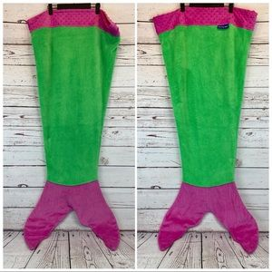 Blankie Tails Mermaid Tail Blanket for Kids - Minky Pink Green